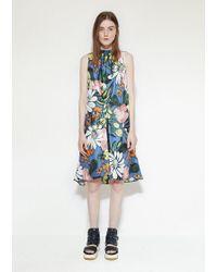 Marni Blue Silk Floral Dress
