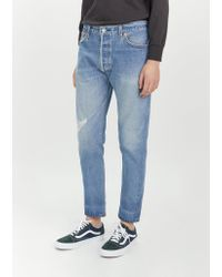 Re/done Blue Relaxed Straight Destruction Jeans