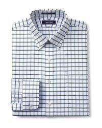 Lands' End - Blue Patterned Tailored Fit Easy-iron Button-down Supima Oxford Shirt for Men - Lyst