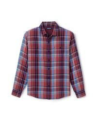 Lands' End Red Double-cloth Work Shirt for men