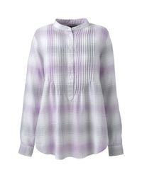 Lands' End Purple Pintucked Brushed Cotton Tunic