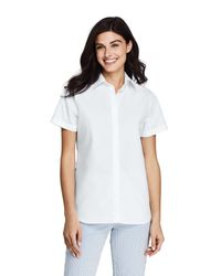 Lands' End White Regular Supima Cotton Non-iron Camp Shirt