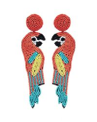 Kenneth Jay Lane - Red Beaded Parrot Drop Earrings - Lyst