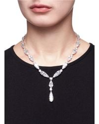 CZ by Kenneth Jay Lane | Metallic Cubic Zirconia Silver Link Drop Necklace | Lyst