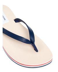 Thom Browne Blue Stripe Leather Flip Flops