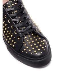 Pedder Red - Black 'jeff' Stud Pavé Leather Sneakers - Lyst