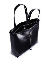 Kara - Black 'panel' Leather Tote - Lyst