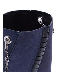 Proenza Schouler Blue 'hex' Mini Suede Panel Leather Bucket Bag
