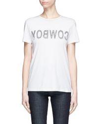 Helmut Lang - White 'cowboy' Reverse Slogan Print T-shirt - Lyst