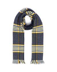 Johnstons Blue Check Plaid Merino Wool Tweed Scarf