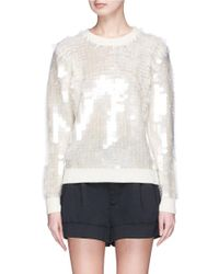 Marc Jacobs White Paillette Wool Sweater
