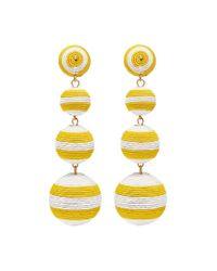 Kenneth Jay Lane - Yellow Stripe Threaded Sphere Drop Clip Earrings - Lyst
