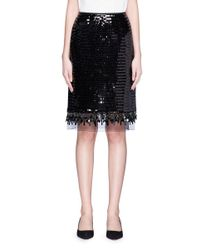 Marc Jacobs Black Organza Underlay Sequin Embroidered Beaded Fringe Skirt
