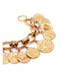 Chanel - Metallic Zodiac Coin Charm Chain Bracelet - Lyst