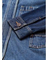 Vince Blue Patchwork Sleeve Patch Pocket Oversized Denim Jacket