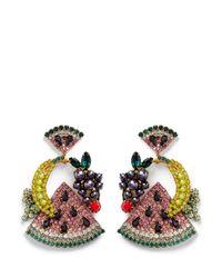 Elizabeth Cole - Multicolor 'fruit Salad' Swarovski Crystal Drop Earrings - Lyst