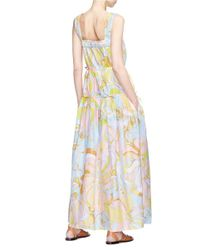 Emilio Pucci Multicolor Floral Print Tiered Ruched Silk Maxi Dress