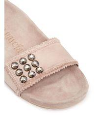 Pedro Garcia - Pink 'amelin' Satin Crystal Slide Sandals - Lyst