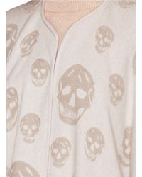 Alexander McQueen - Natural Skull Jacquard Wool-cashmere Knit Cape - Lyst