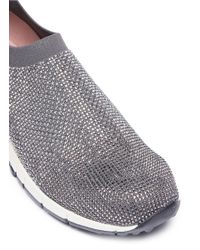 Pedder Red - Gray 'davis' Strass Pavé Knit Sock Sneakers - Lyst