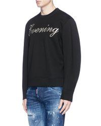 DSquared² Black 'evening' Metallic Embroidered Neoprene Sweatshirt for men