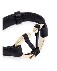 Valentino - Black Logo Plate Leather Bracelet - Lyst