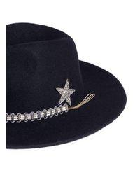 Venna Black Jewelled Band Wool Felt Fedora Hat