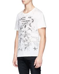 R13 White 'doodle Boy' Print Distressed T-shirt for men