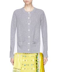 Sacai Multicolor Rib Knit Hopsack Shirt Cardigan