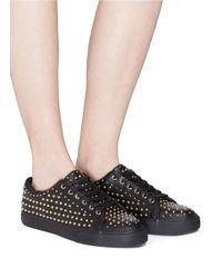 Pedder Red - Black 'jeff' Stud Pavé Leather Sneakers - Lyst