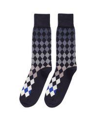 Paul Smith Blue 'harlequin' Diamond Socks for men