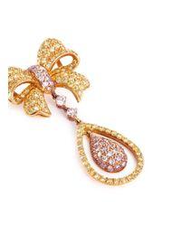 LC COLLECTION - Metallic Diamond 18k Gold Ribbon Teardrop Pendant - Lyst
