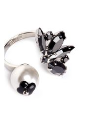 Joomi Lim - Black 'monochrome Chic' Swarovski Crystal And Pearl Open Ring - Lyst