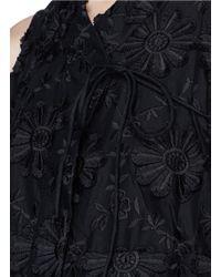 Co. - Black Floral Embroidered Wrap Kimono Top - Lyst