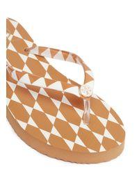 Tory Burch Brown 'thin' Diamond Tile Print Flip Flops