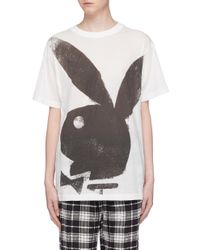 Marc Jacobs White X Playboy Bunny Print Oversized T-shirt