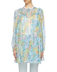 Miu Miu Blue Graphic Print Tie Neck Georgette Nightgown Jacket for men
