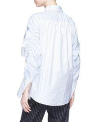 Stella McCartney - White 'thandie' Ruched Panel Windowpane Check Shirt - Lyst