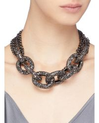 Kenneth Jay Lane - Metallic Glass Crystal Interlocking Link Chain Necklace - Lyst