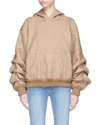 Johanna Ortiz Multicolor 'janis' Ruched Sleeve Wool Flannel Hoodie