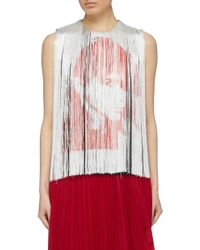 CALVIN KLEIN 205W39NYC Red X Andy Warhol Foundation 'stephen Sprouse' Fringe Print Sleeveless Top
