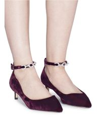 Pedder Red - Red Strass Chain Ankle Strap Velvet Pumps - Lyst
