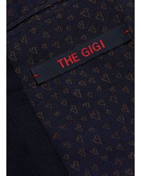 The Gigi Blue Peaked Lapel Virgin Wool Blend Suit for men