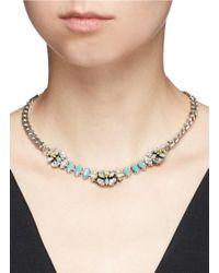 Anton Heunis - Blue Swarovski Crystal Filigree Floral Charm Necklace - Lyst