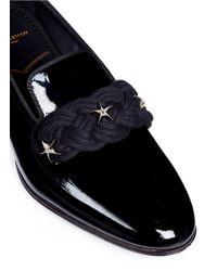 Louis Leeman Black Star Stud Patent Leather Loafers