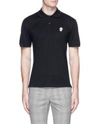 Alexander McQueen Black Skull Patch Polo Shirt for men