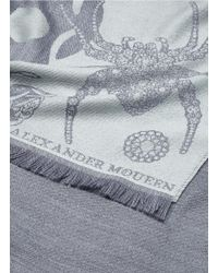 Alexander McQueen Gray 'jewelled Spider' Jacquard Wool Scarf