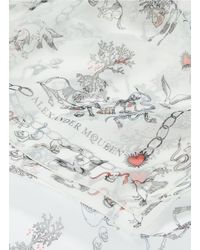 Alexander McQueen White 'battle Of Beasts' Print Silk Chiffon Scarf