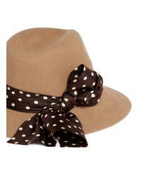 Maison Michel - Brown 'henrietta' Rabbit Furfelt Fedora Hat - Lyst