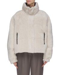 Army by Yves Salomon Multicolor Reversible Lambskin Fur Nylon Jacket